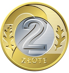 Reverse polish money two zloty coin vector