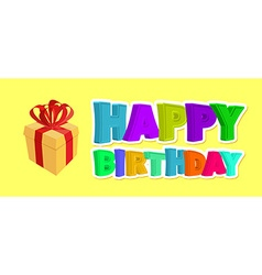 Happy birthday greetings gift and inscription of vector