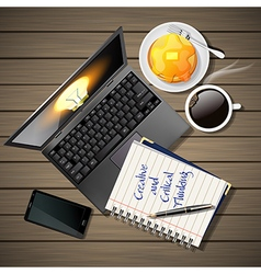 laptop and phone with coffee and pancake and book vector image