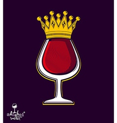 Sophisticated luxury wineglass with golden vector