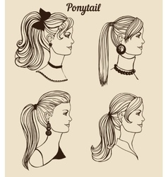Set of different ponytail types vector