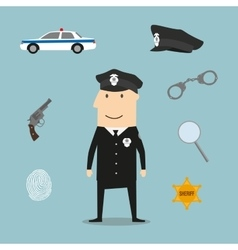 Police profession icons and symbols vector