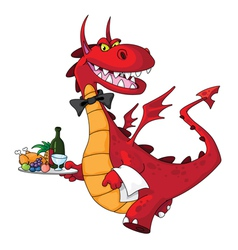 Dragon waiter with food tray vector