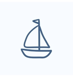 Sailboat sketch icon vector