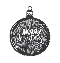 Merry christmas calligraphy on ball handwritten vector