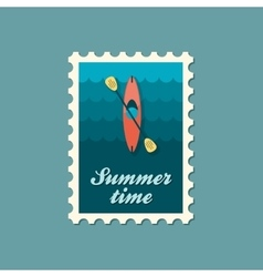 Kayak stamp canoe  summer vacation vector