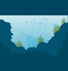 Beauty landcape of underwater flat vector