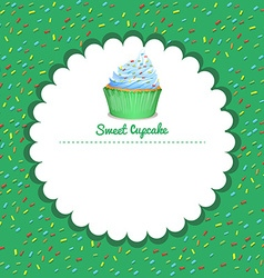 Border design with cupcake vector image vector image