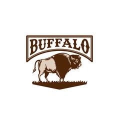 Buffalo American Bison Side Woodcut vector image