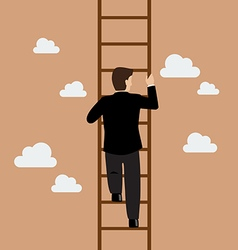 Businessman climbing the ladder vector image