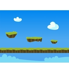 Cartoon nature landscape with grass and cloud for vector