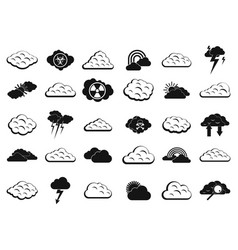 cloud icon set simple style vector image