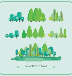 Collection of trees floral group nature collection vector