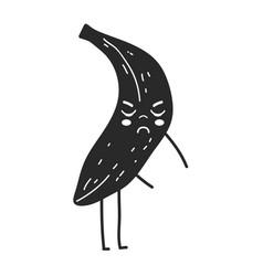 contour kawaii cute angry banana fruit vector image