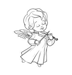 Cute baby angel making music playing violin vector image vector image