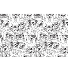 Cute dog fashion hipster black seamless pattern vector