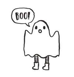 Cute hand drawn funny ghost vector