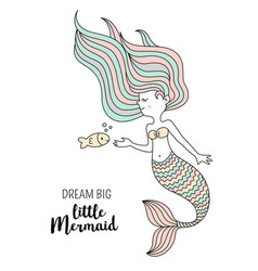 Cute little mermaid with fish under the sea vector
