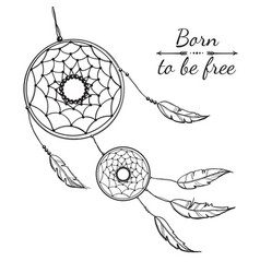 detailed dreamcatcher with ornament vector image
