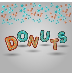 Donuts seamless pattern design 3d letters vector