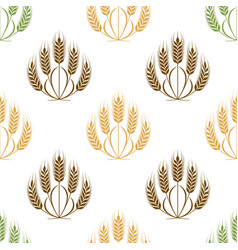 ears of wheat and grains seamless pattern vector image vector image