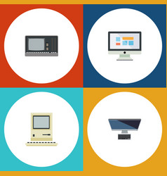 Flat icon laptop set of display pc computing and vector