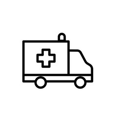 line ambulance icon on white background vector image vector image