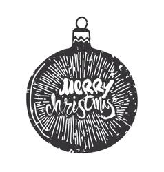 Merry Christmas calligraphy on ball Handwritten vector image