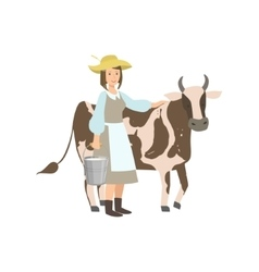 Milkmaid with cow and metal bucket milk vector