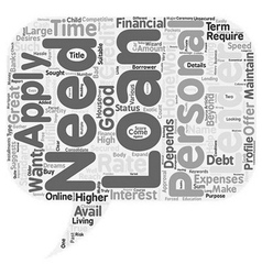 Personal loan for you text background wordcloud vector
