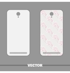 Phone cover pink flowers on gray vector