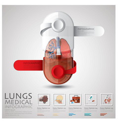 Pill capsule lungs health and medical infographic vector