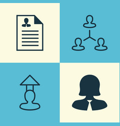 Resources icons set collection of hierarchy vector