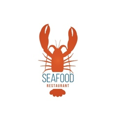 Seafood restaurant logo template with lobster vector