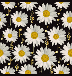 seamless pattern with music notes and daisies vector image