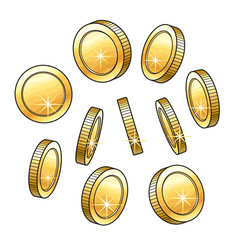 set of hand drawn shiny gold coins in various vector image vector image