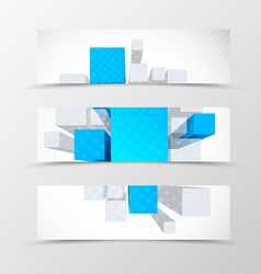 Set of header banner dynamic geometric design vector