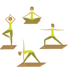 Set of stylized yoga poses vector