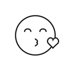 Smiling cartoon face blowing kiss positive people vector