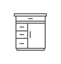 table with drawers isolated icon in linear style vector image