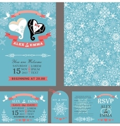 Wedding invitationheart couplewinter set vector