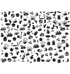 Seamless doodle coffee and tea patterns vector