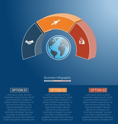 Infographic semicircle and globe numbered 3 vector