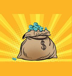 Large bag of american dollars vector