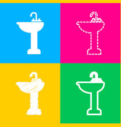 Bathroom sink sign four styles of icon on four vector
