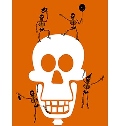 Halloween skull and skeletons greeting card vector