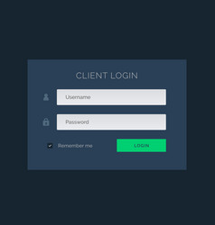 Dark blue ui theme for login form vector