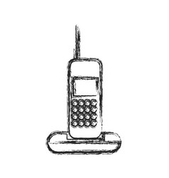 Cordless phone communication device sketch vector