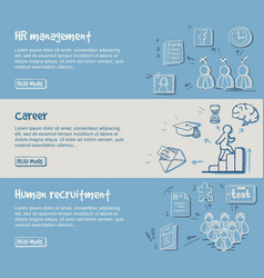 hand drawn career development horizontal banners vector image