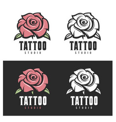 tattoo studio rose emblem vintage vector image